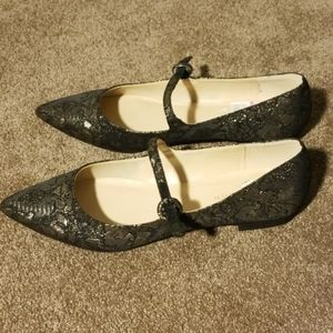 MARCH FISHER Damask Pointed Toe Mary Jane Flats